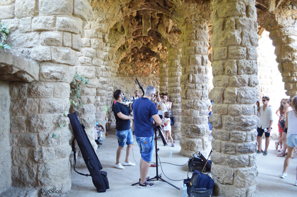 Artists in colonnaded footpath, Park Guell - Barcelona