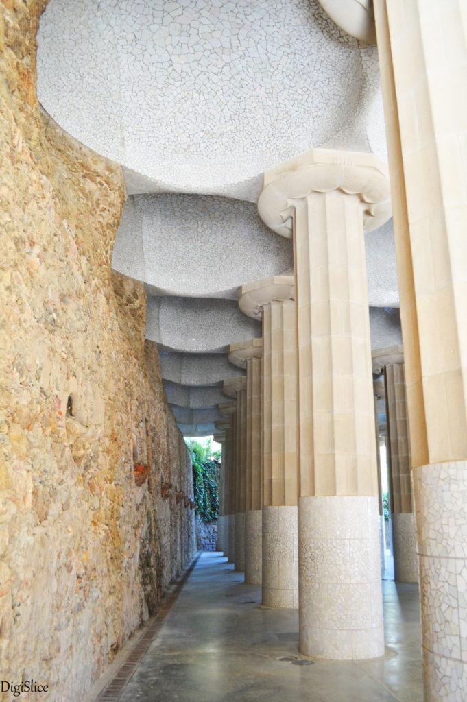 Columns at Sala Hipóstila in Parc Güell, Barcelona