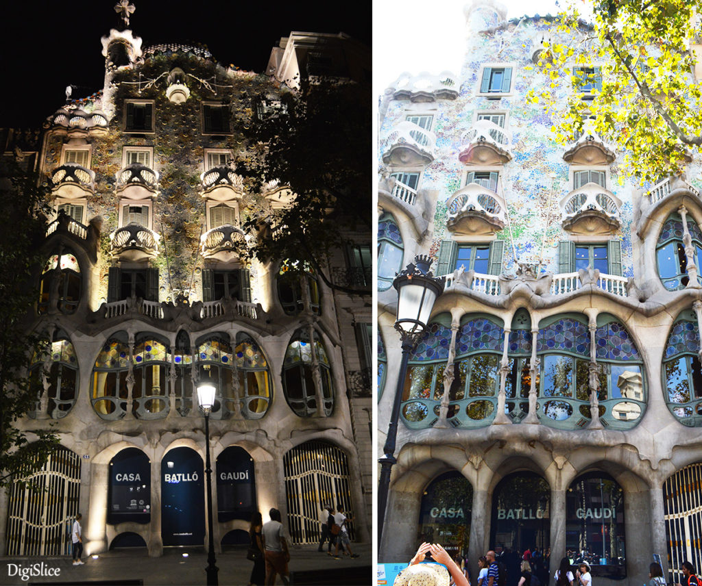 Casa Batlló facade at night & day - Barcelona